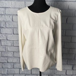 Vince Camuto long sleeve faux leather front Top